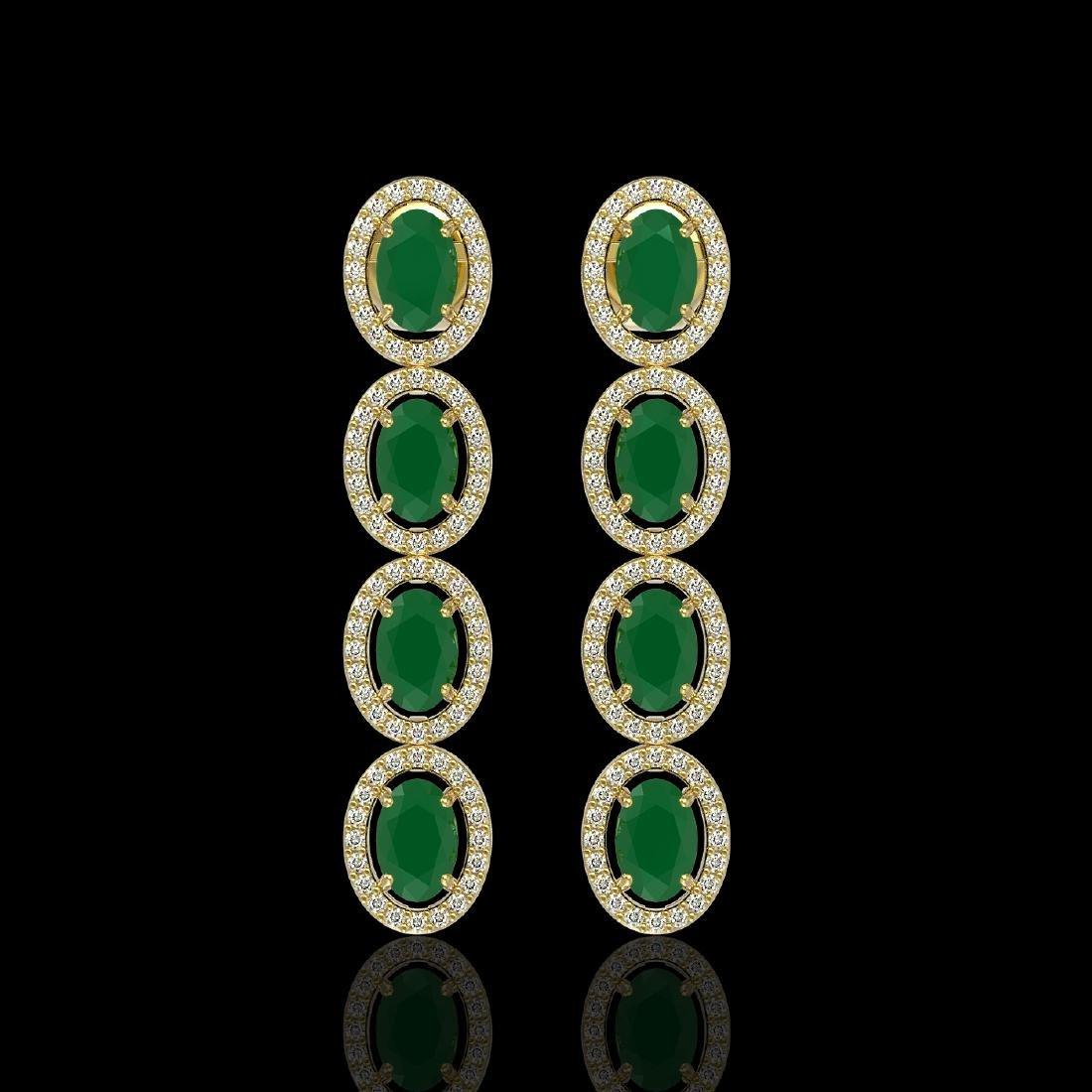 6.47 CTW Emerald & Diamond Halo Earrings 10K Yellow