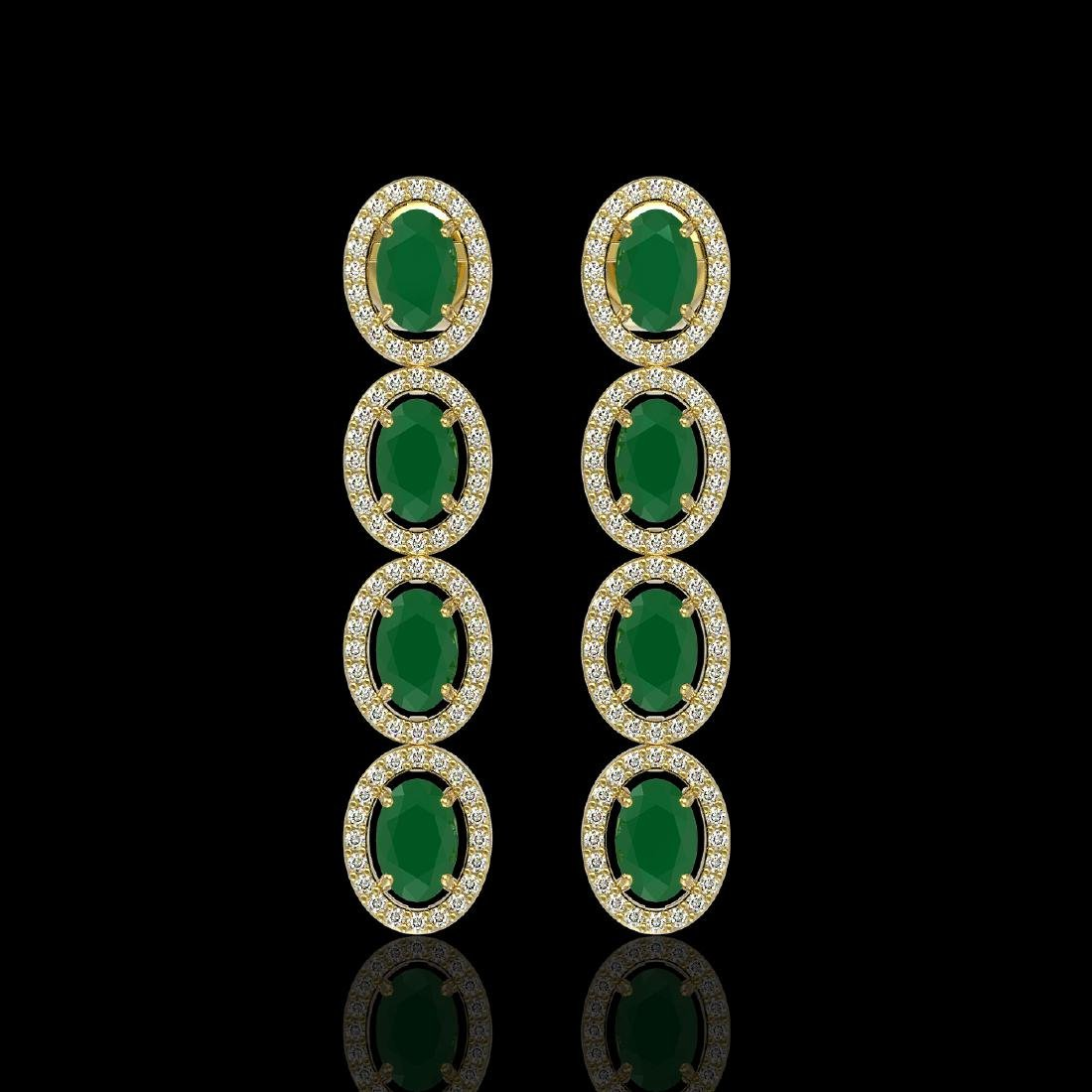 6.47 CTW Emerald & Diamond Halo Earrings 10K Yellow