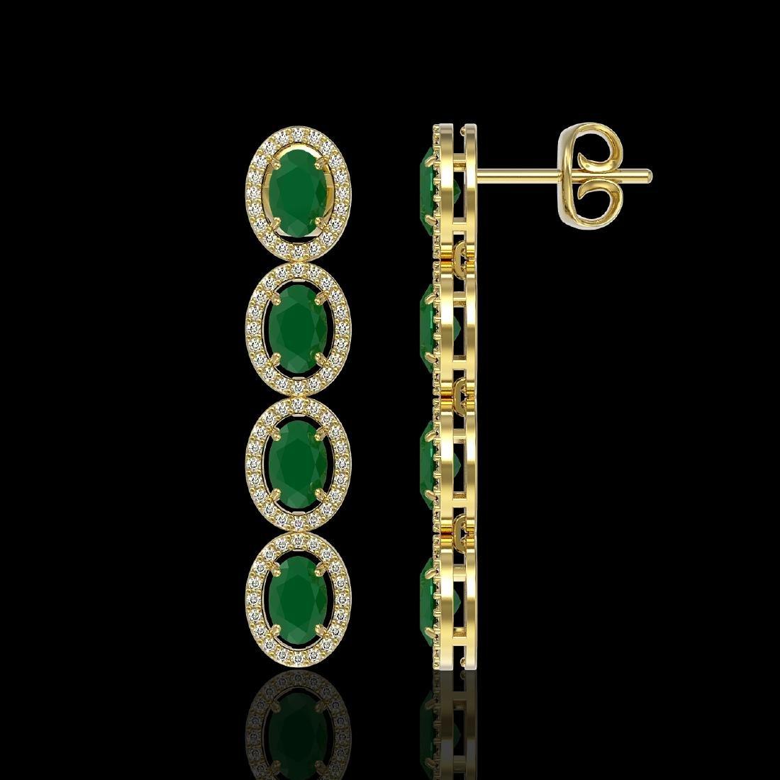 6.47 CTW Emerald & Diamond Halo Earrings 10K Yellow - 2