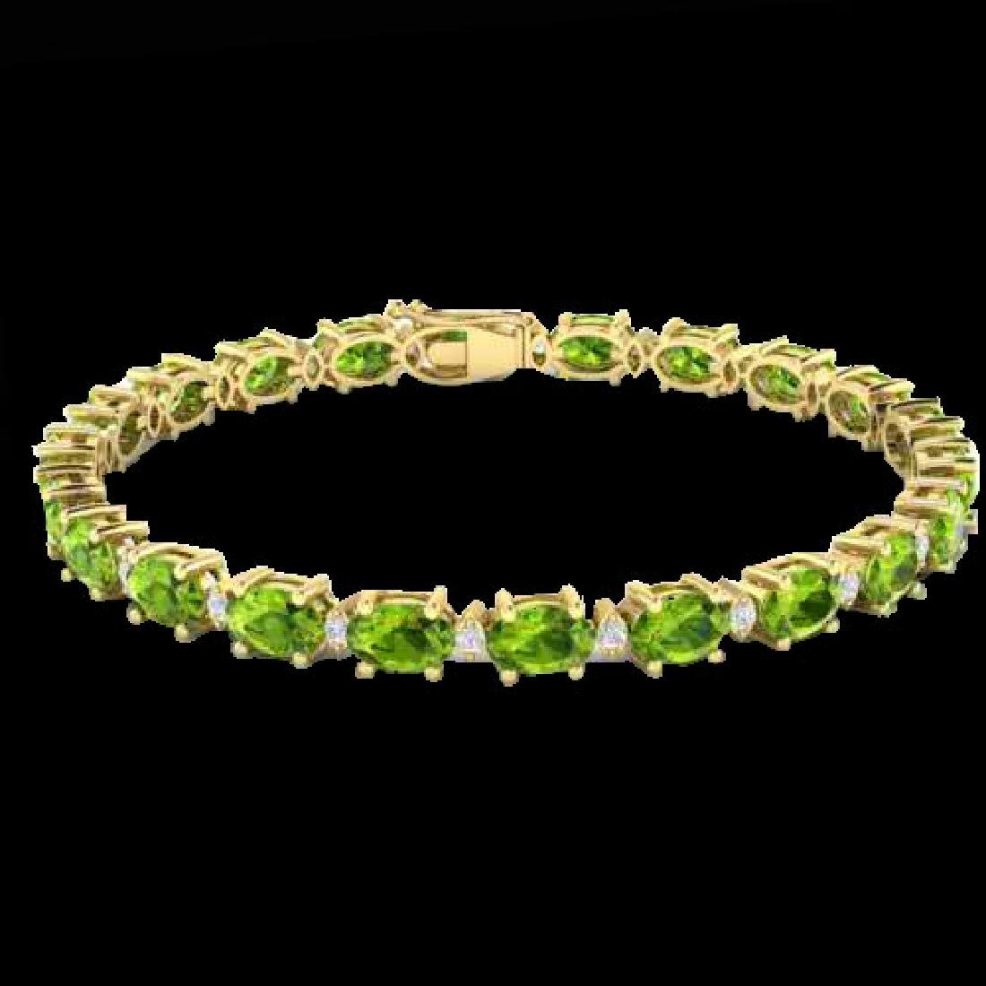 19.7 CTW Peridot & VS/SI Certified Diamond Eternity - 2