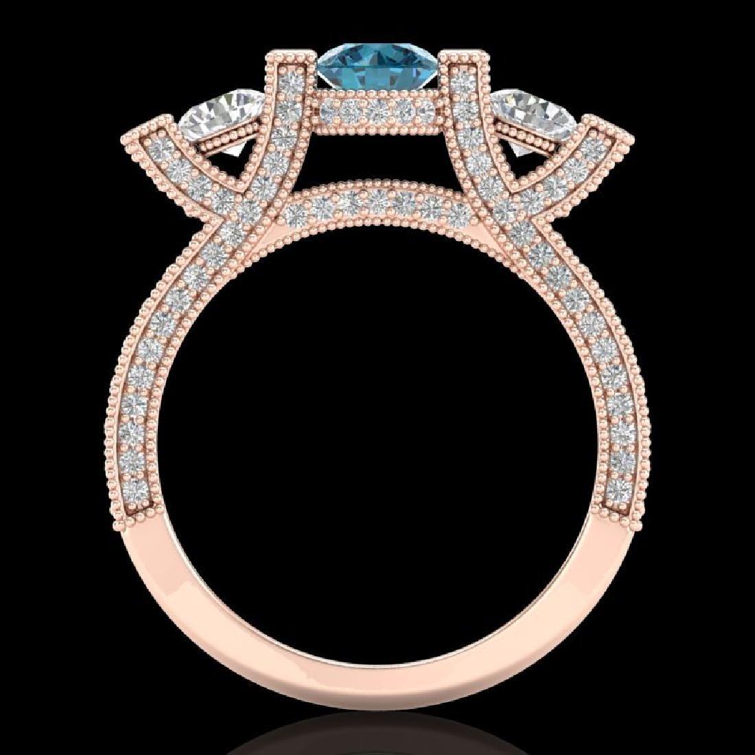 2.3 CTW Fancy Intense Blue Diamond Micro Pave 3 Stone - 3