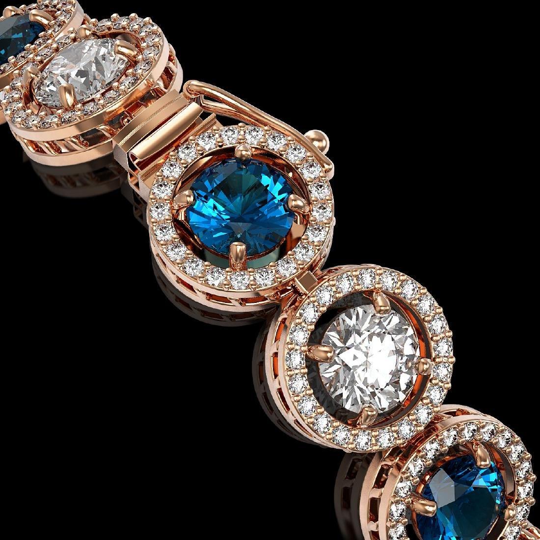13.56 CTW Blue & White Diamond Designer Bracelet 18K - 2