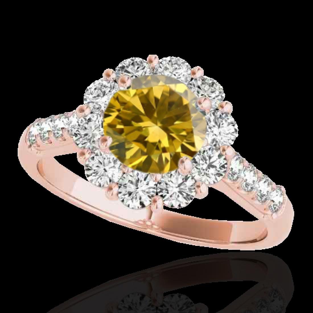 2 CTW Certified SI/I Fancy Intense Yellow Diamond