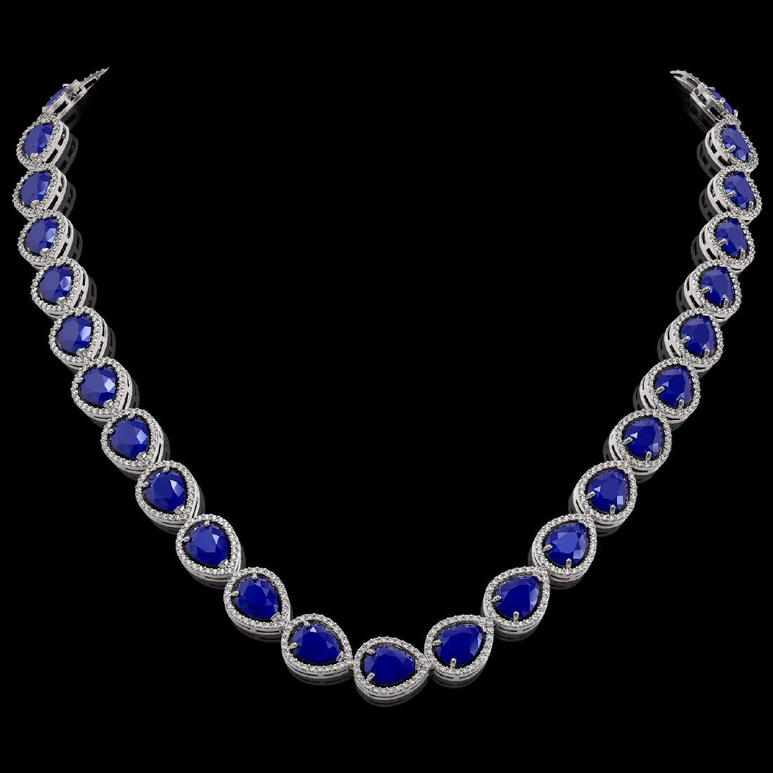 64.01 CTW Sapphire & Diamond Halo Necklace 10K White