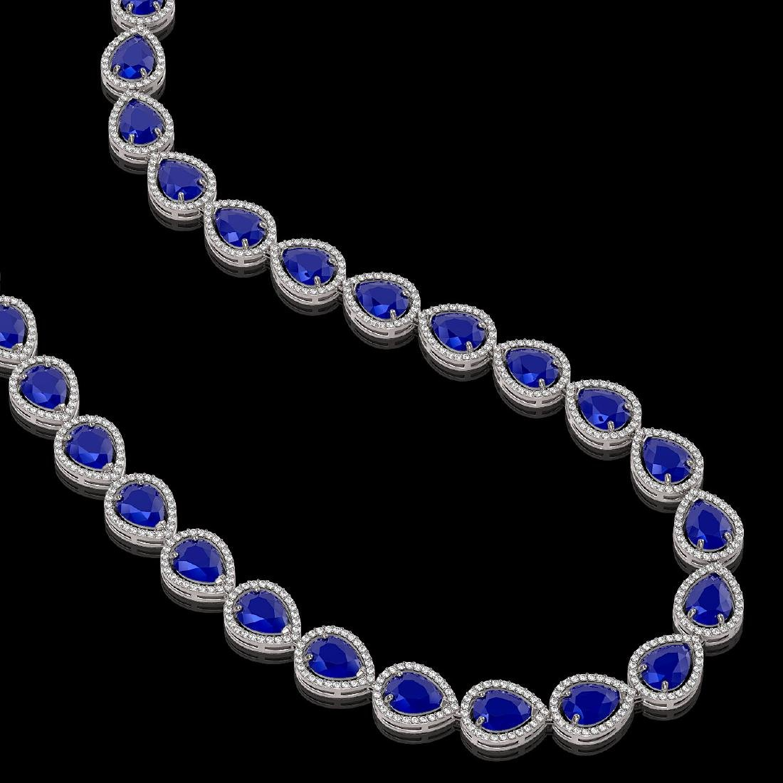 64.01 CTW Sapphire & Diamond Halo Necklace 10K White - 2