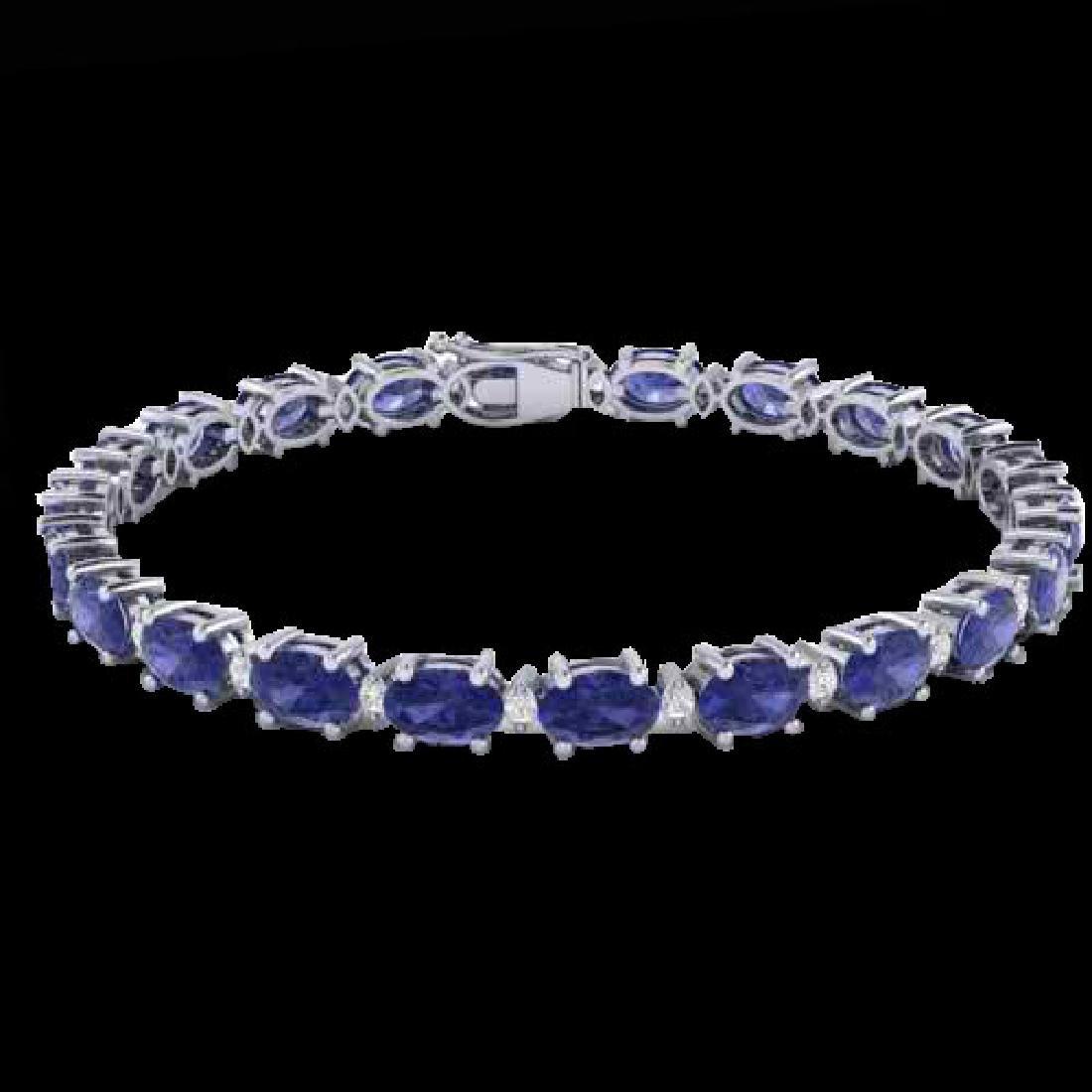 19.7 CTW Tanzanite & VS/SI Certified Diamond Eternity - 2