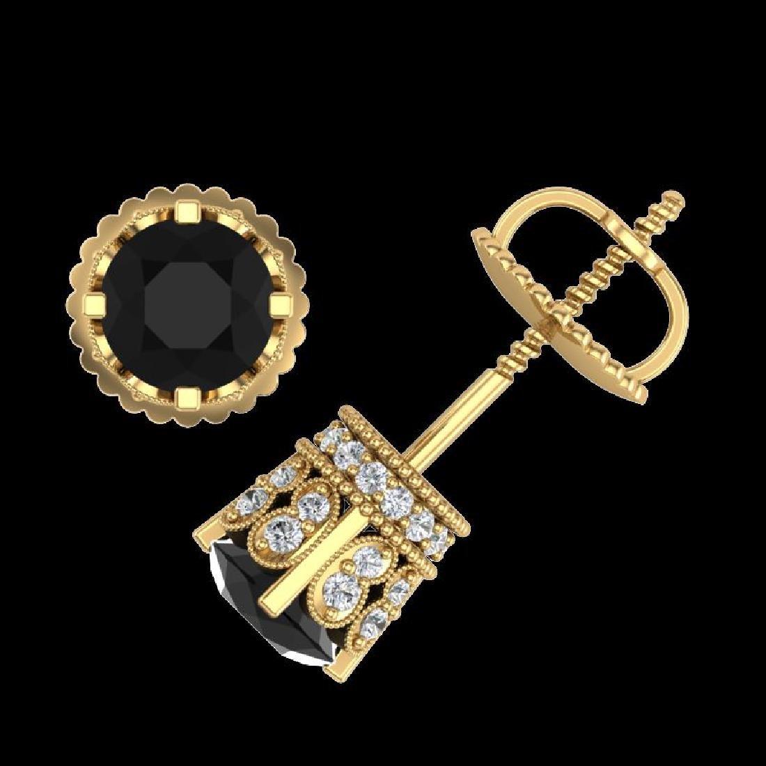 1.75 CTW Fancy Black Diamond Solitaire Art Deco Stud - 3
