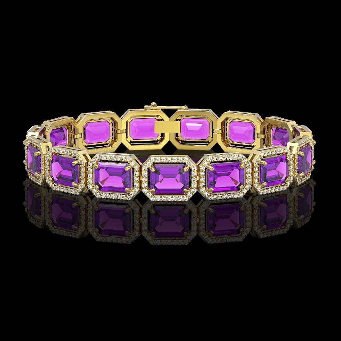 34.86 CTW Amethyst & Diamond Halo Bracelet 10K Yellow