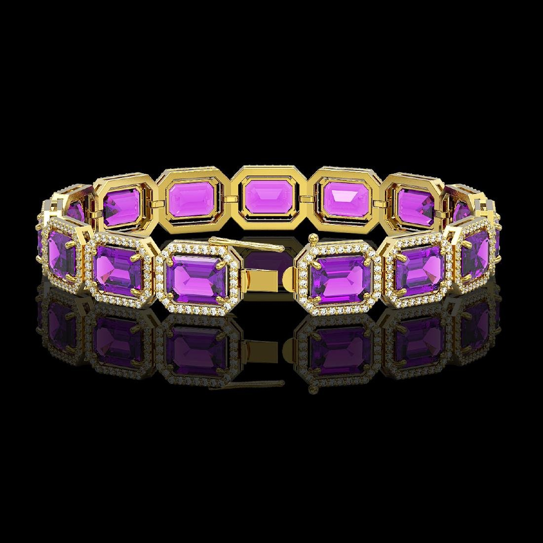 34.86 CTW Amethyst & Diamond Halo Bracelet 10K Yellow - 2