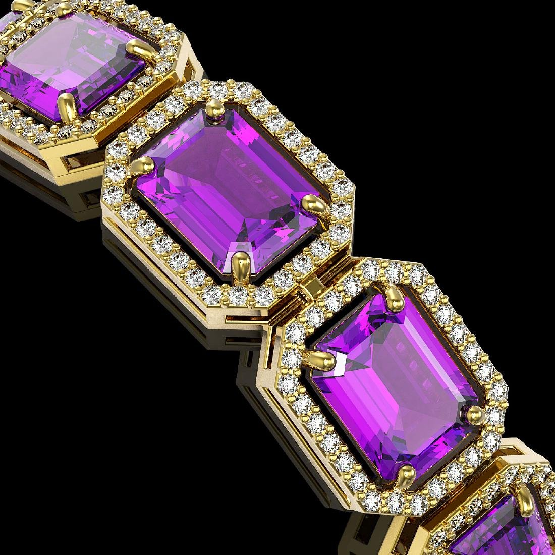 34.86 CTW Amethyst & Diamond Halo Bracelet 10K Yellow - 3