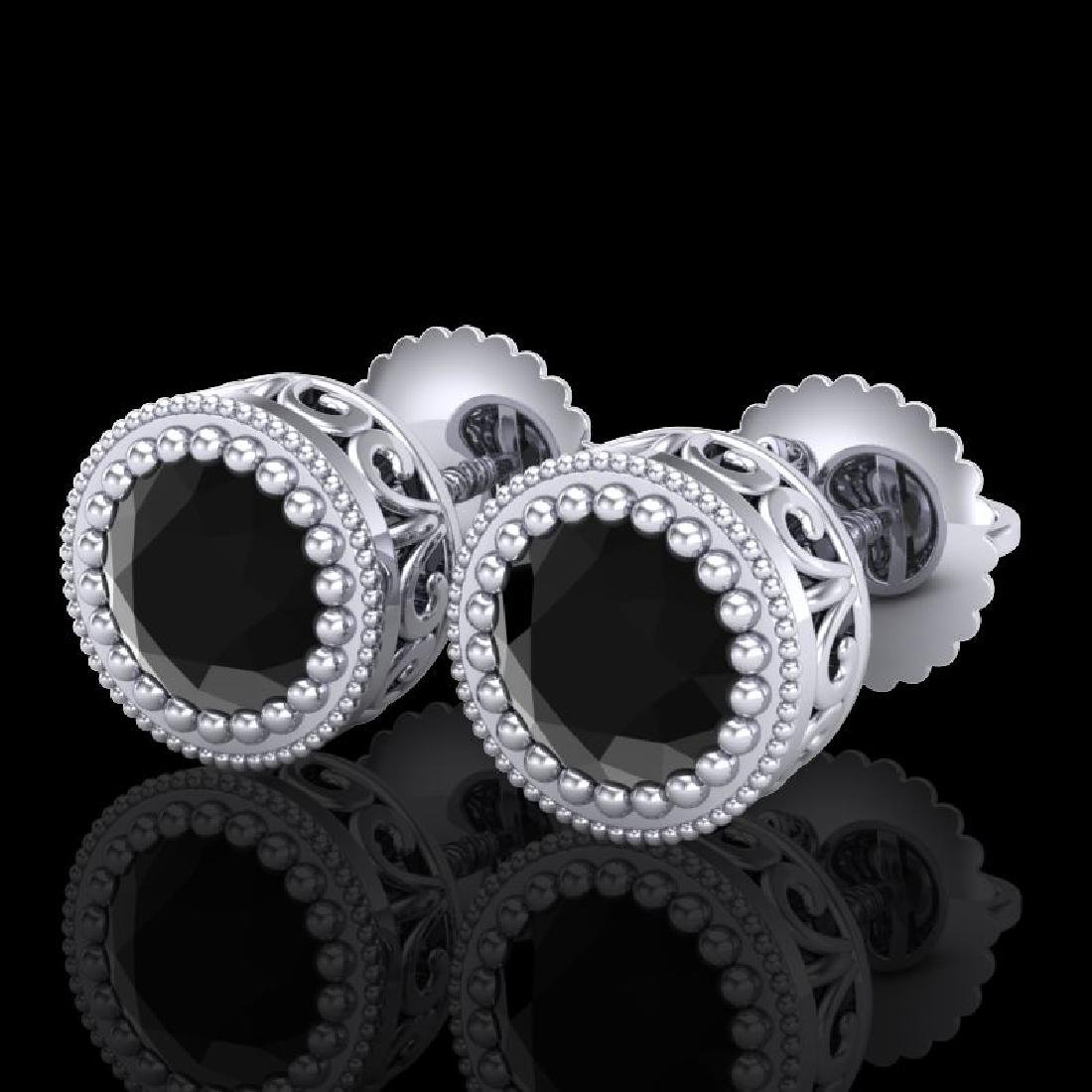 1.09 CTW Fancy Black Diamond Solitaire Art Deco Stud