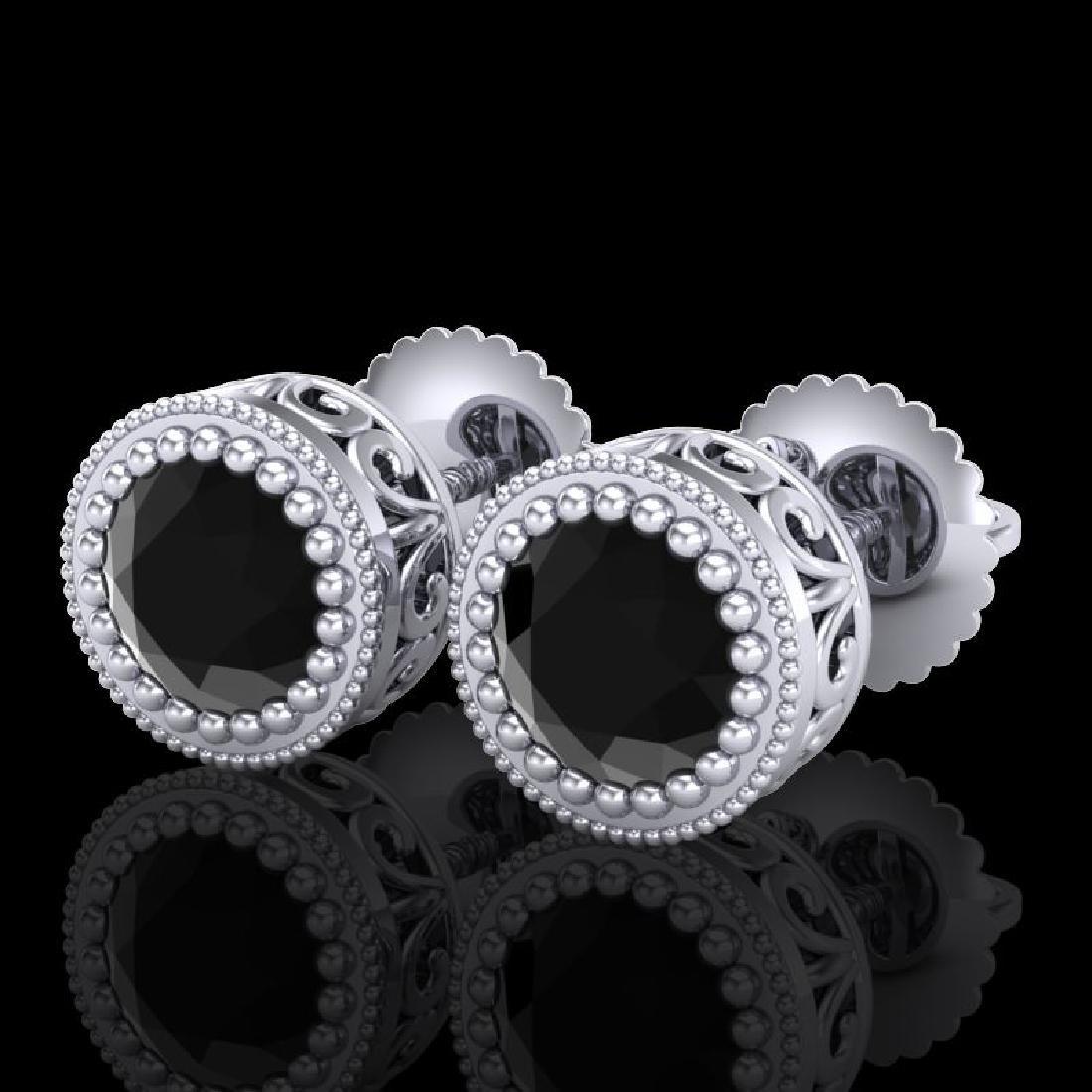 1.09 CTW Fancy Black Diamond Solitaire Art Deco Stud