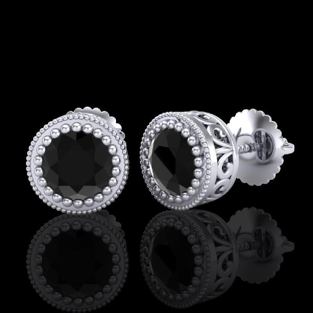 1.09 CTW Fancy Black Diamond Solitaire Art Deco Stud - 2