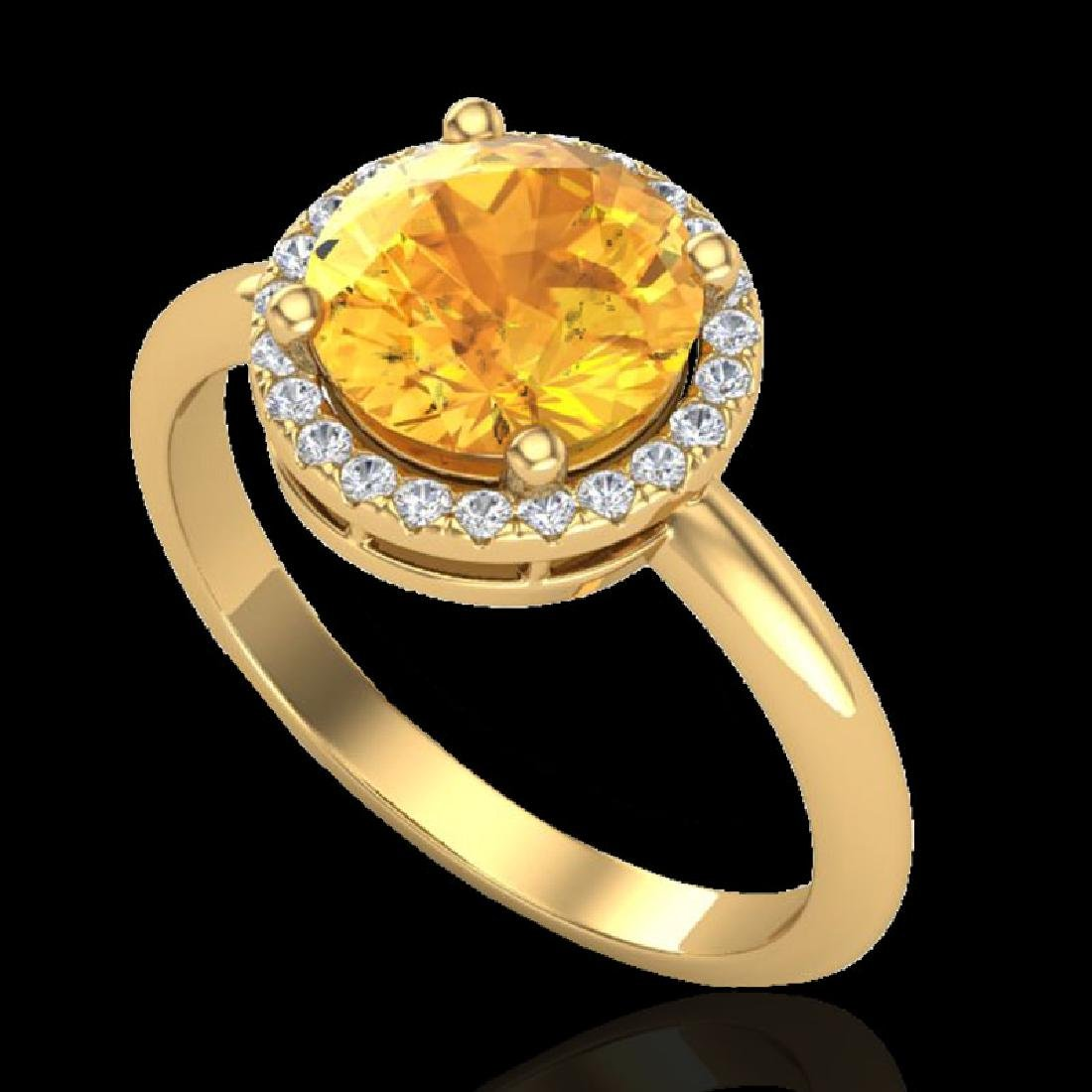 2 CTW Citrine & Micro VS/SI Diamond Ring Designer Halo - 2