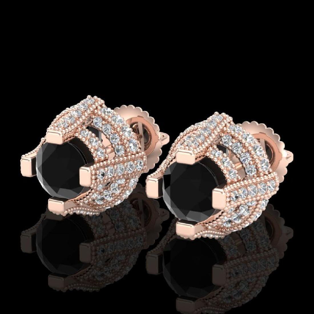 2.75 CTW Fancy Black Diamond Solitaire Micro Pave Stud