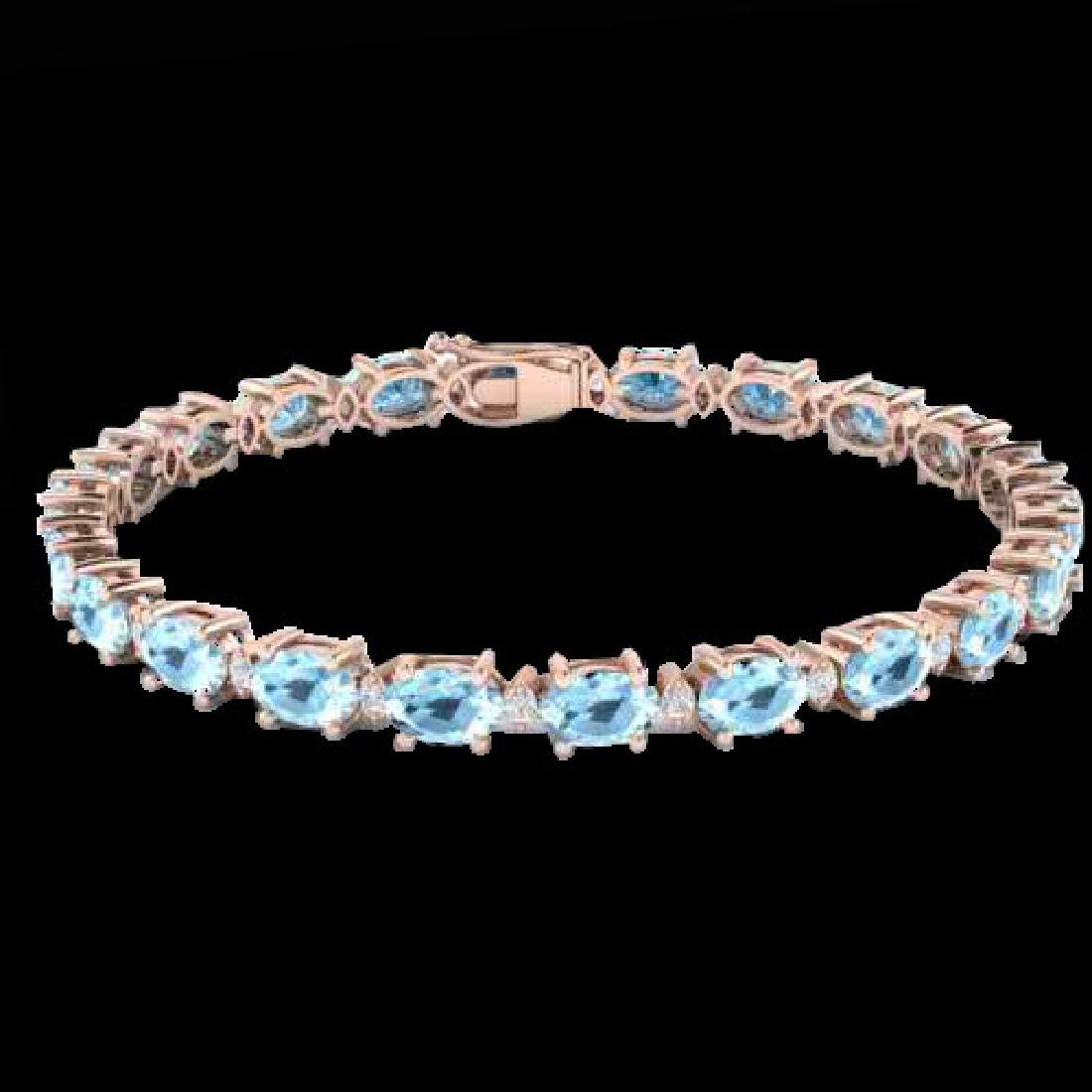 10 CTW Aquamarine & VS/SI Diamond Eternity Bracelet 10K - 2