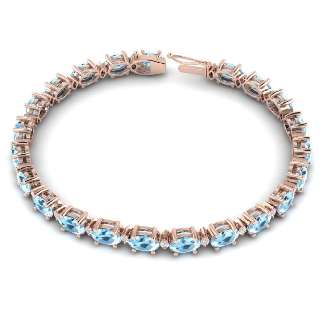 10 CTW Aquamarine & VS/SI Diamond Eternity Bracelet 10K - 3