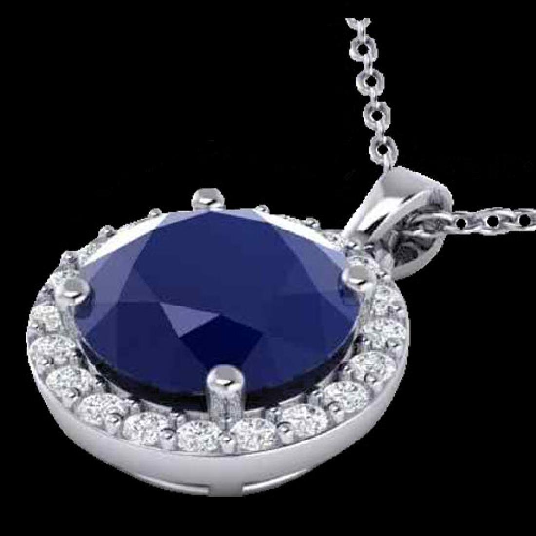 2 CTW Sapphire & Halo VS/SI Diamond Micro Pave Necklace