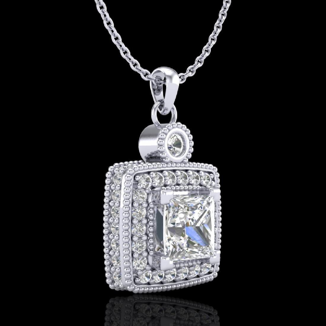 0.91 CTW Princess VS/SI Diamond Art Deco Stud Necklace - 3