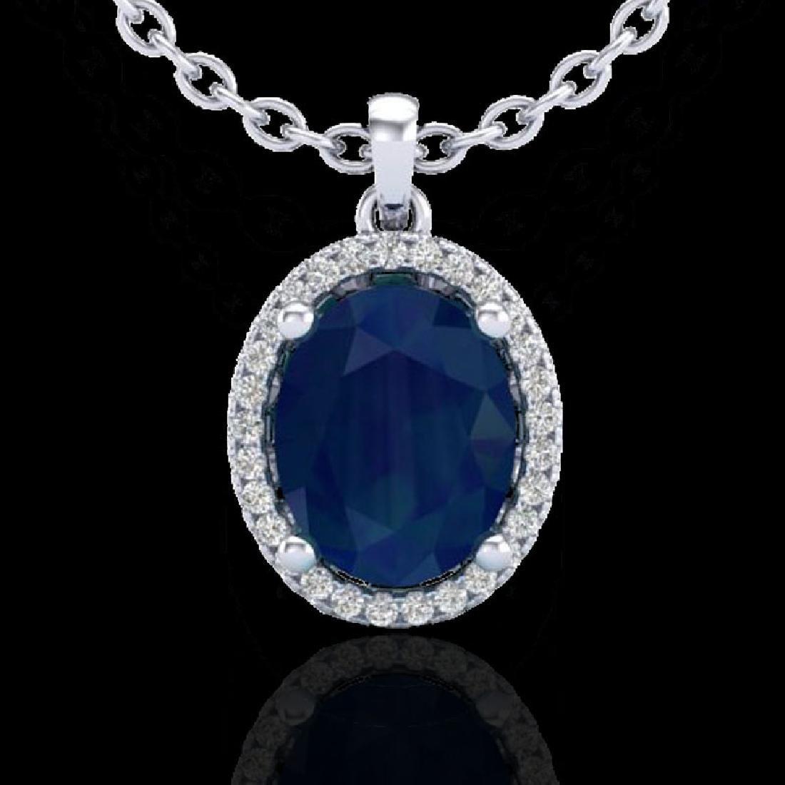 3 CTW Sapphire & Micro Pave VS/SI Diamond Necklace Halo - 2