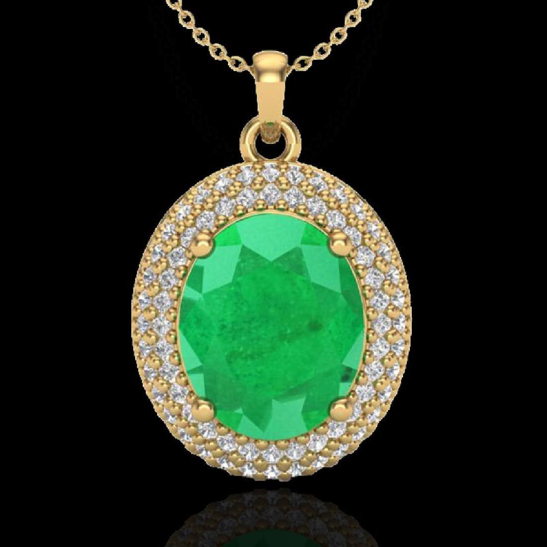 4.50 CTW Emerald & Micro Pave VS/SI Diamond Necklace