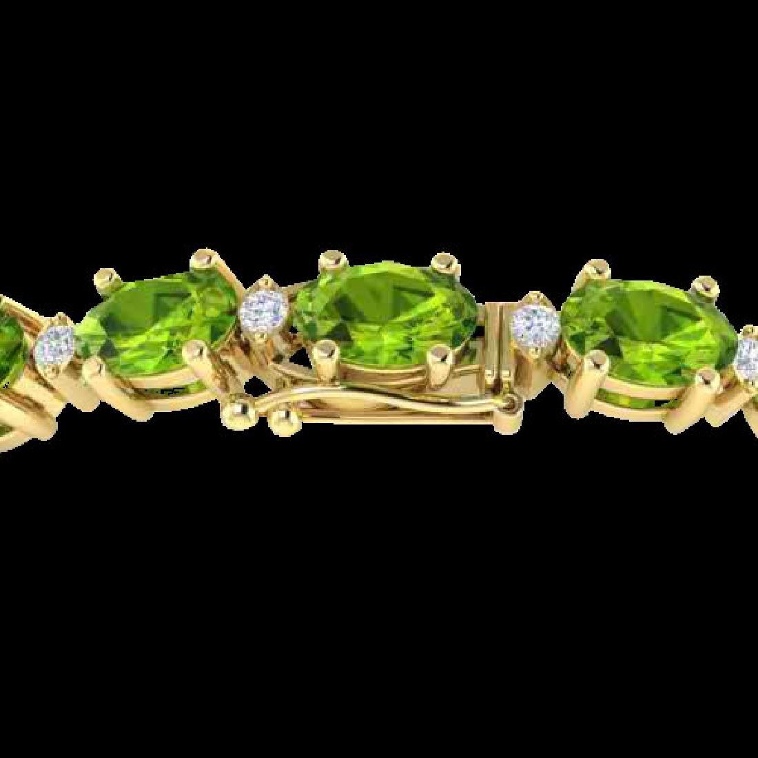 26.3 CTW Peridot & VS/SI Certified Diamond Bracelet