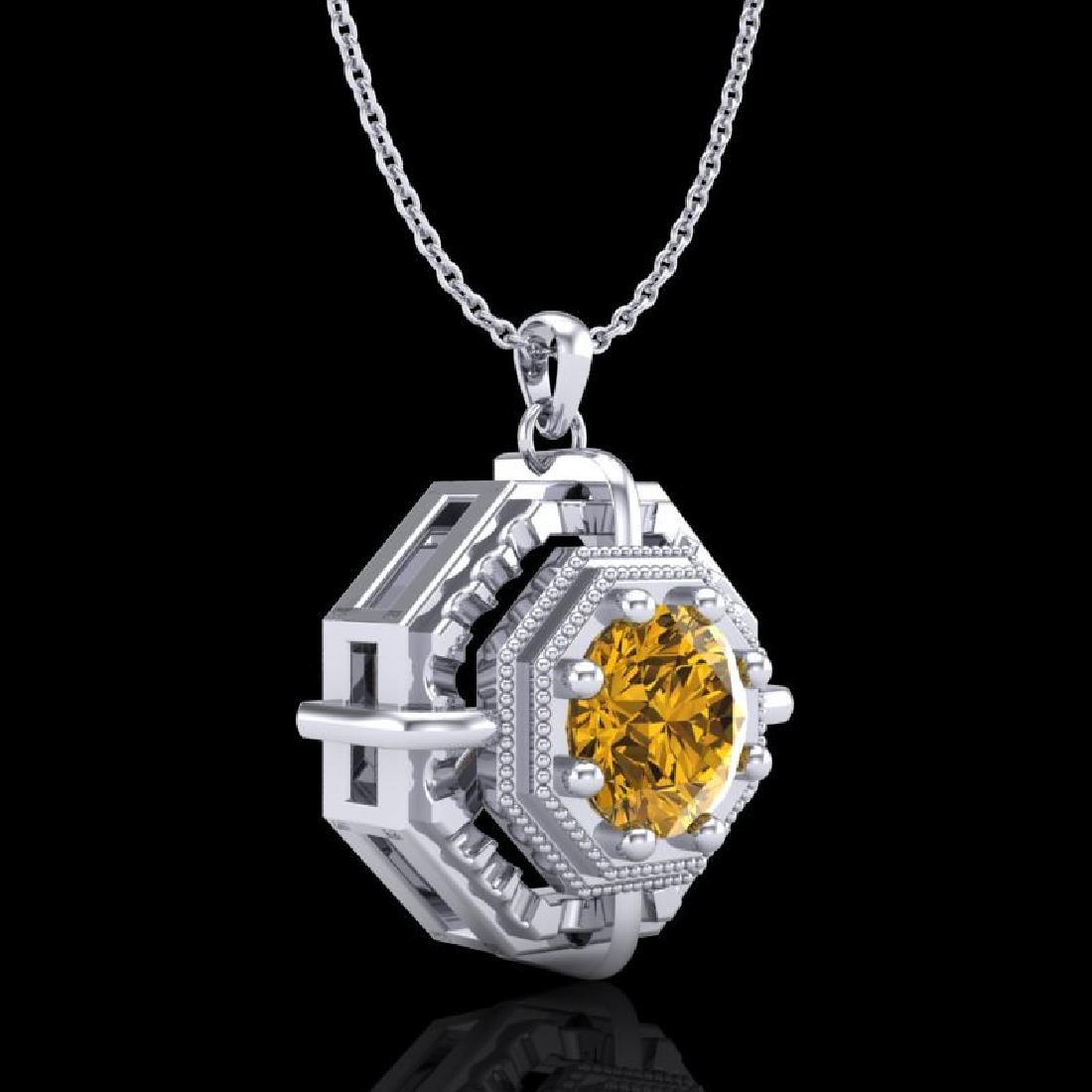 0.75 CTW Intense Fancy Yellow Diamond Art Deco Stud - 3