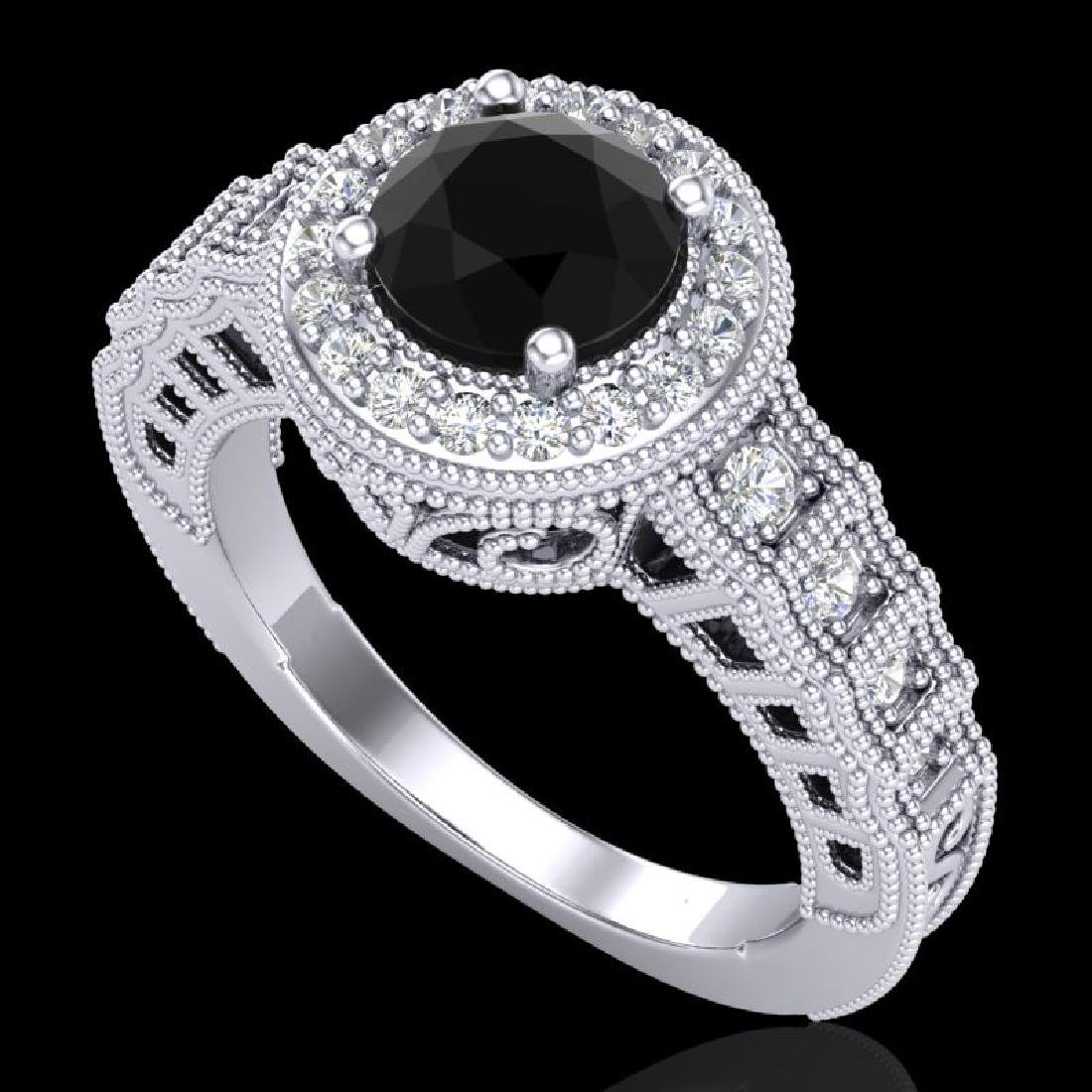1.53 CTW Fancy Black Diamond Solitaire Engagement Art