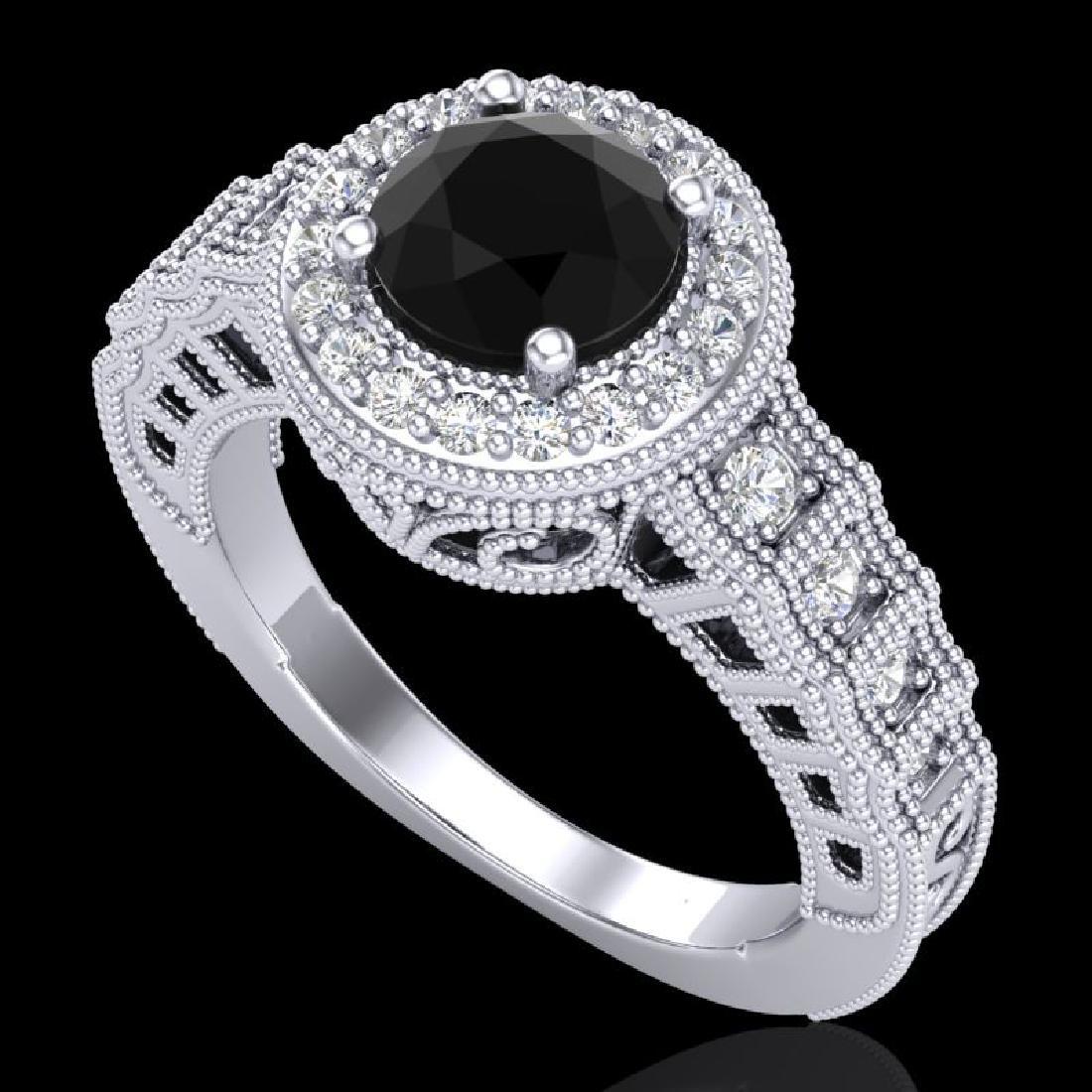 1.53 CTW Fancy Black Diamond Solitaire Engagement Art