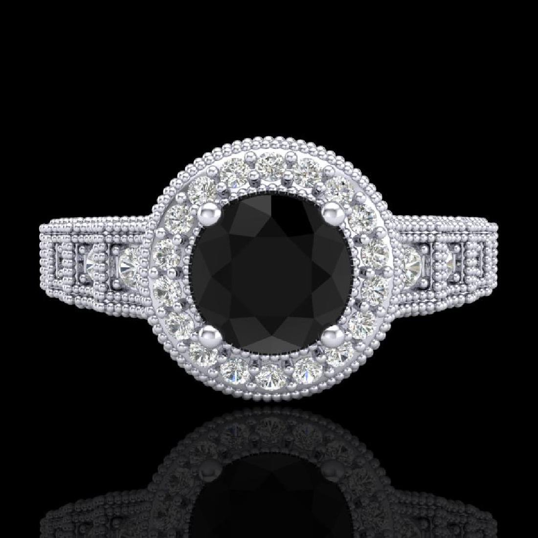 1.53 CTW Fancy Black Diamond Solitaire Engagement Art - 2