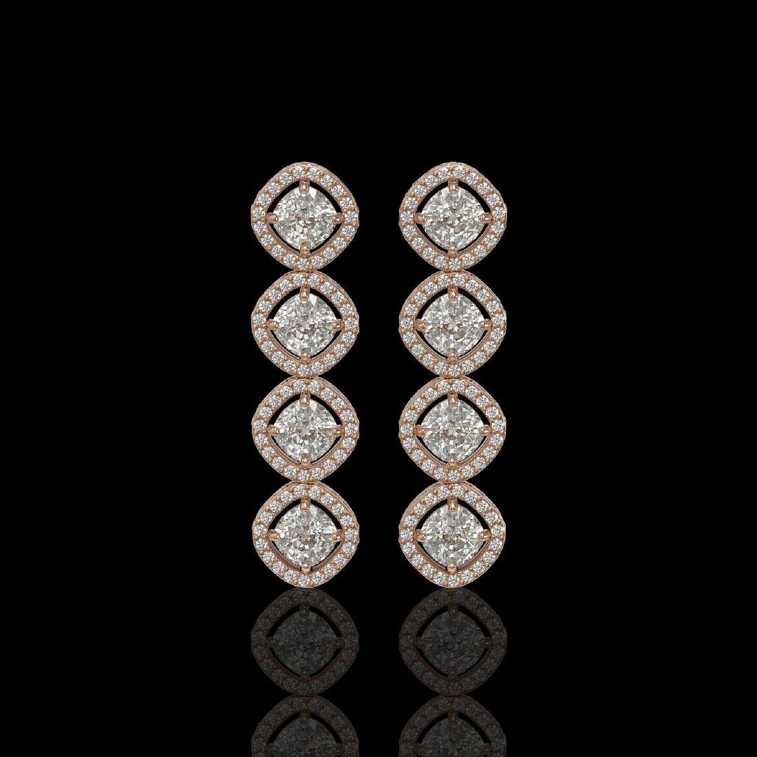 5.28 CTW Cushion Cut Diamond Designer Earrings 18K Rose