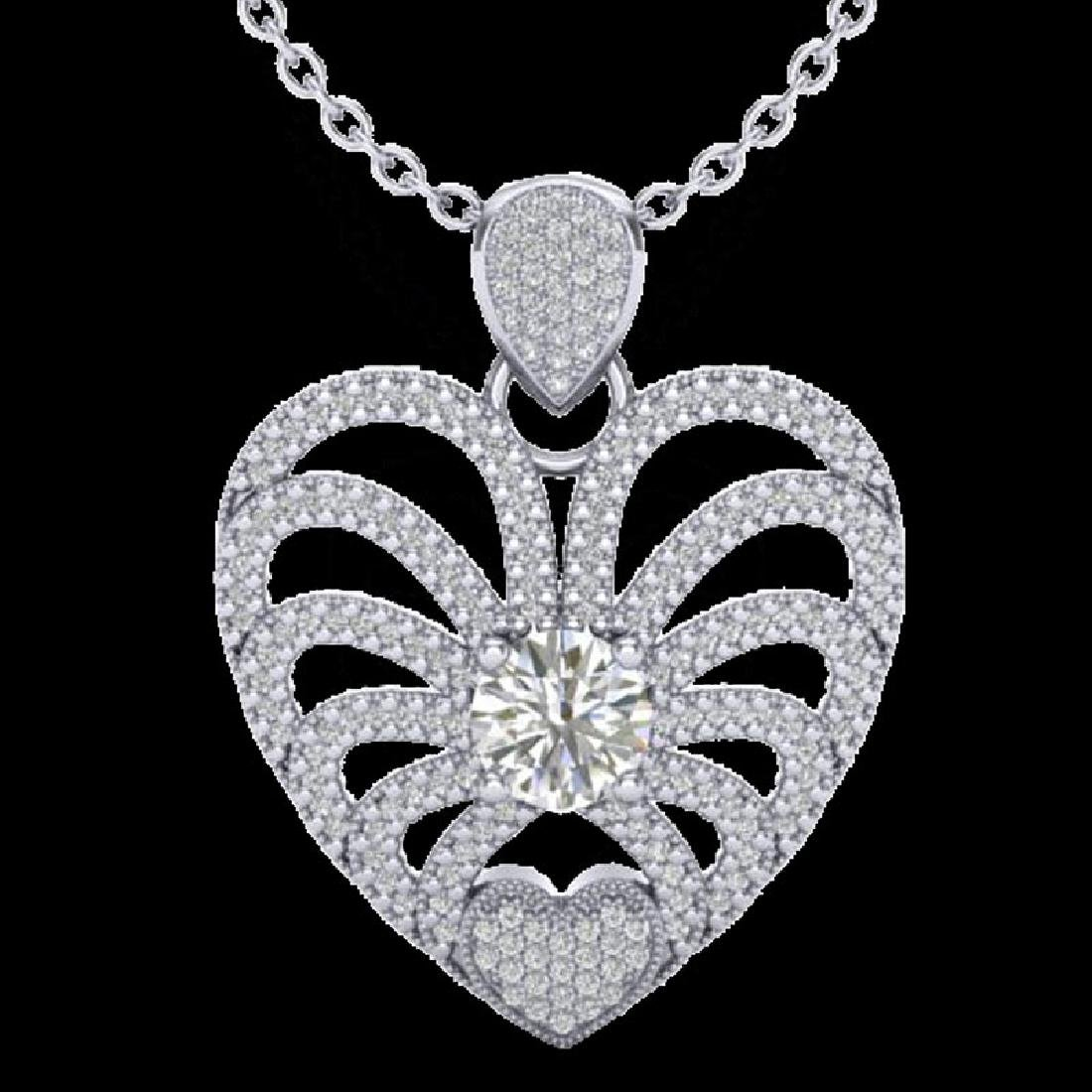 3 CTW Micro Pave VS/SI Diamond Heart Necklace 14K White