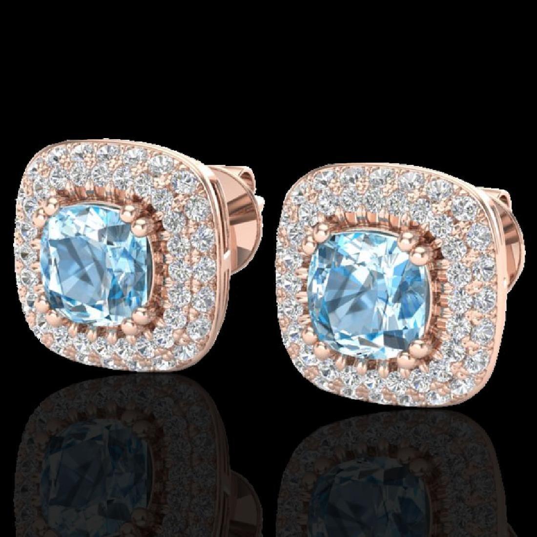 2.16 CTW Sky Blue Topaz & Micro VS/SI Diamond Earrings