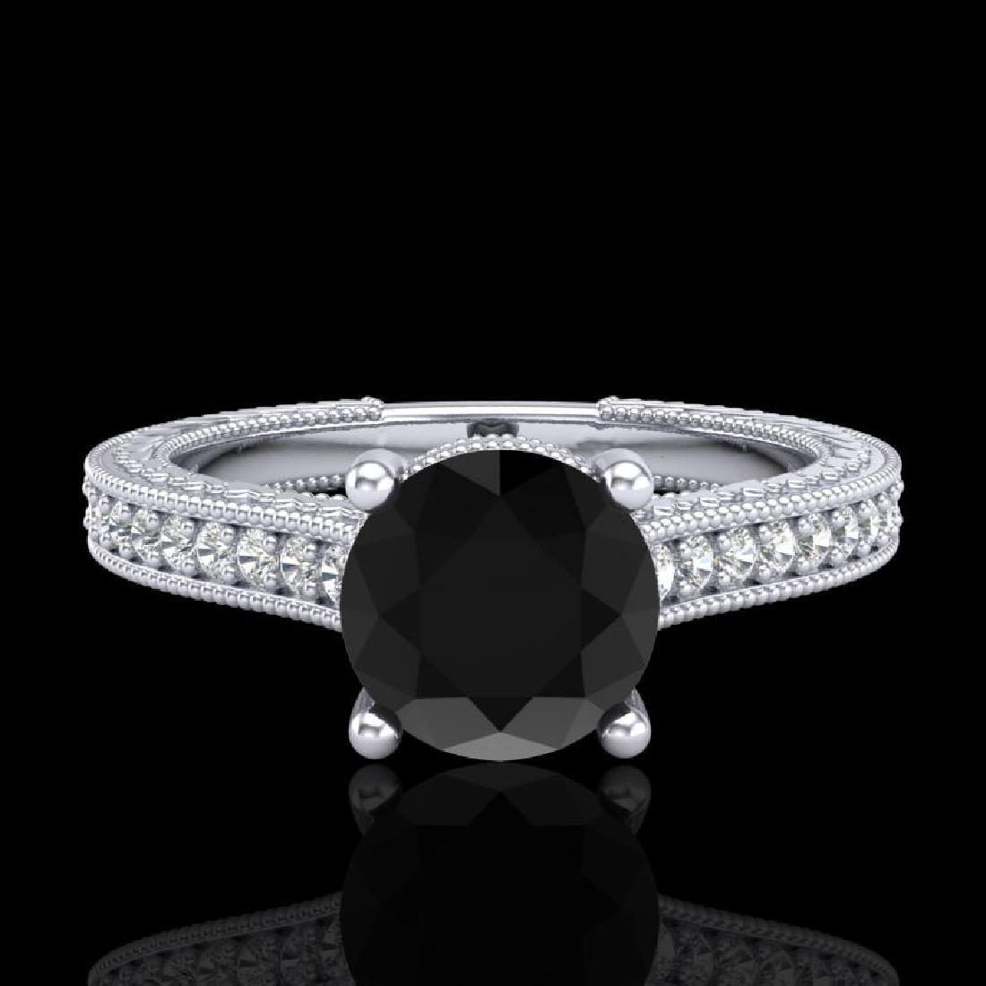 1.45 CTW Fancy Black Diamond Solitaire Engagement Art - 2