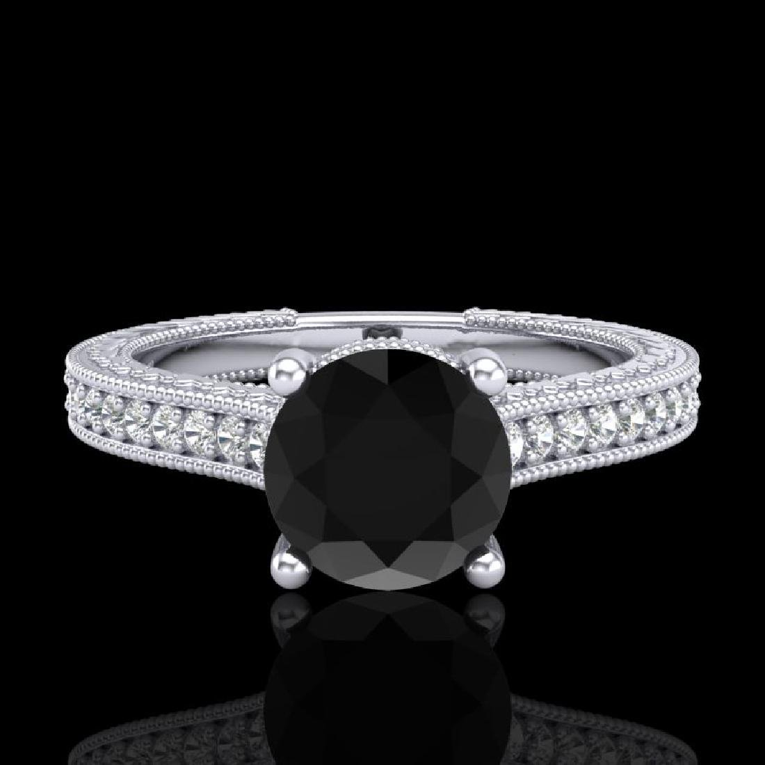 1.45 CTW Fancy Black Diamond Solitaire Engagement Art - 2