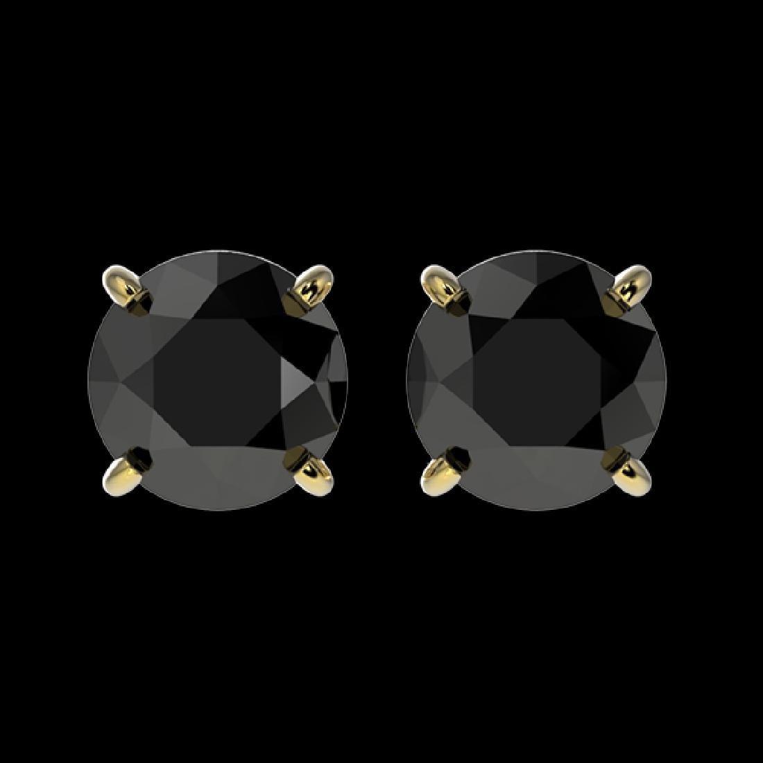 1.50 CTW Fancy Black VS Diamond Solitaire Stud Earrings