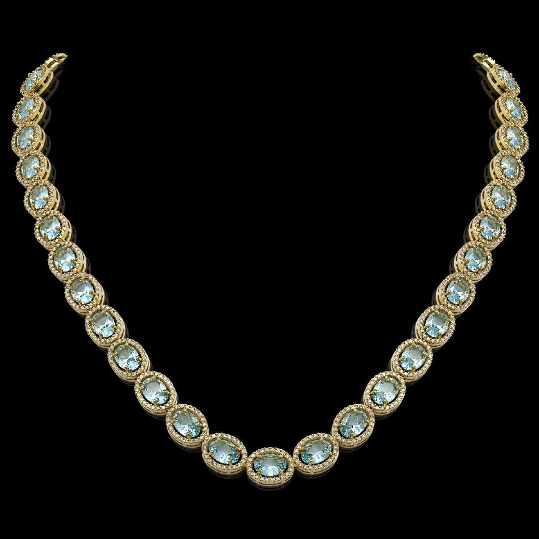 41.88 CTW Aquamarine & Diamond Halo Necklace 10K Yellow