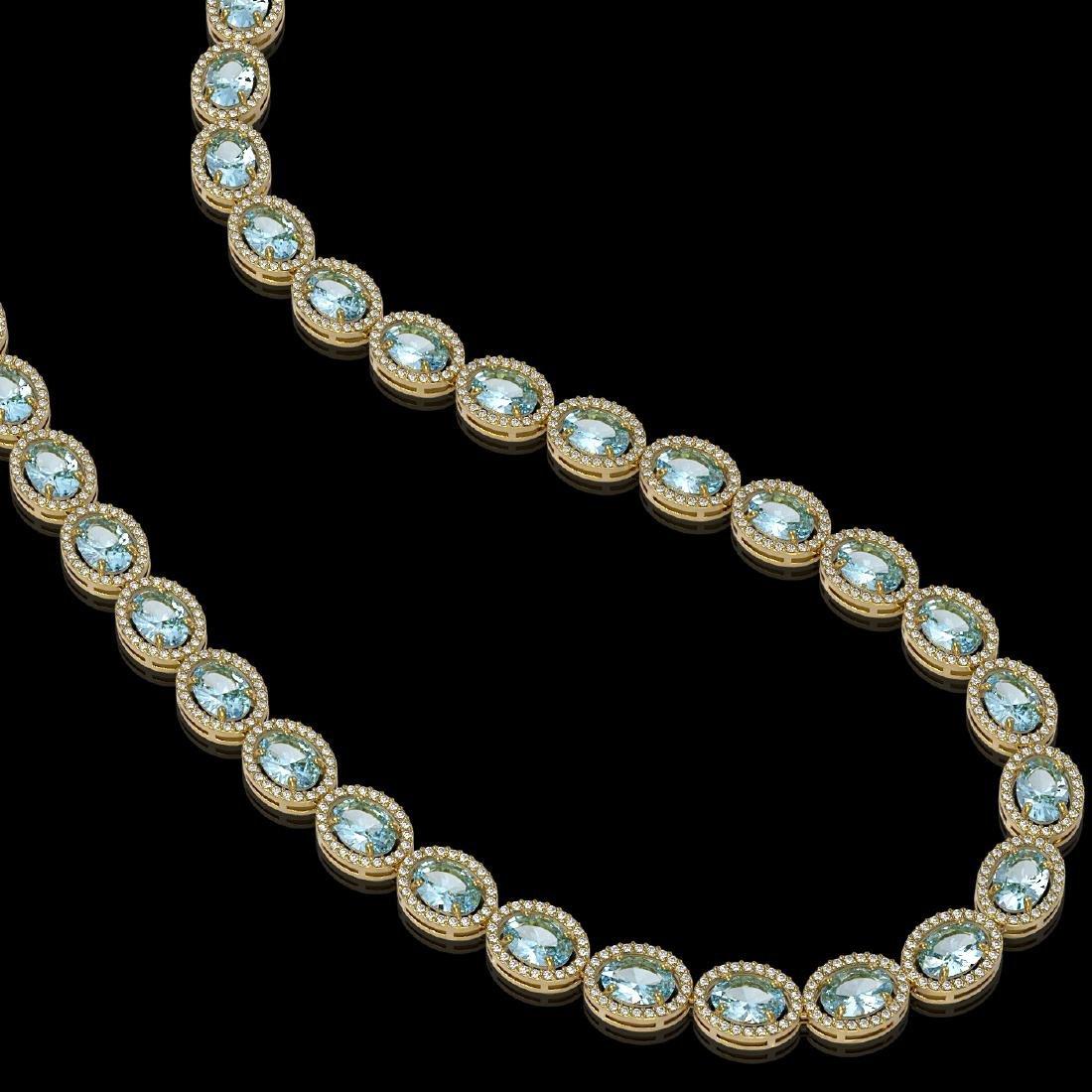 41.88 CTW Aquamarine & Diamond Halo Necklace 10K Yellow - 2