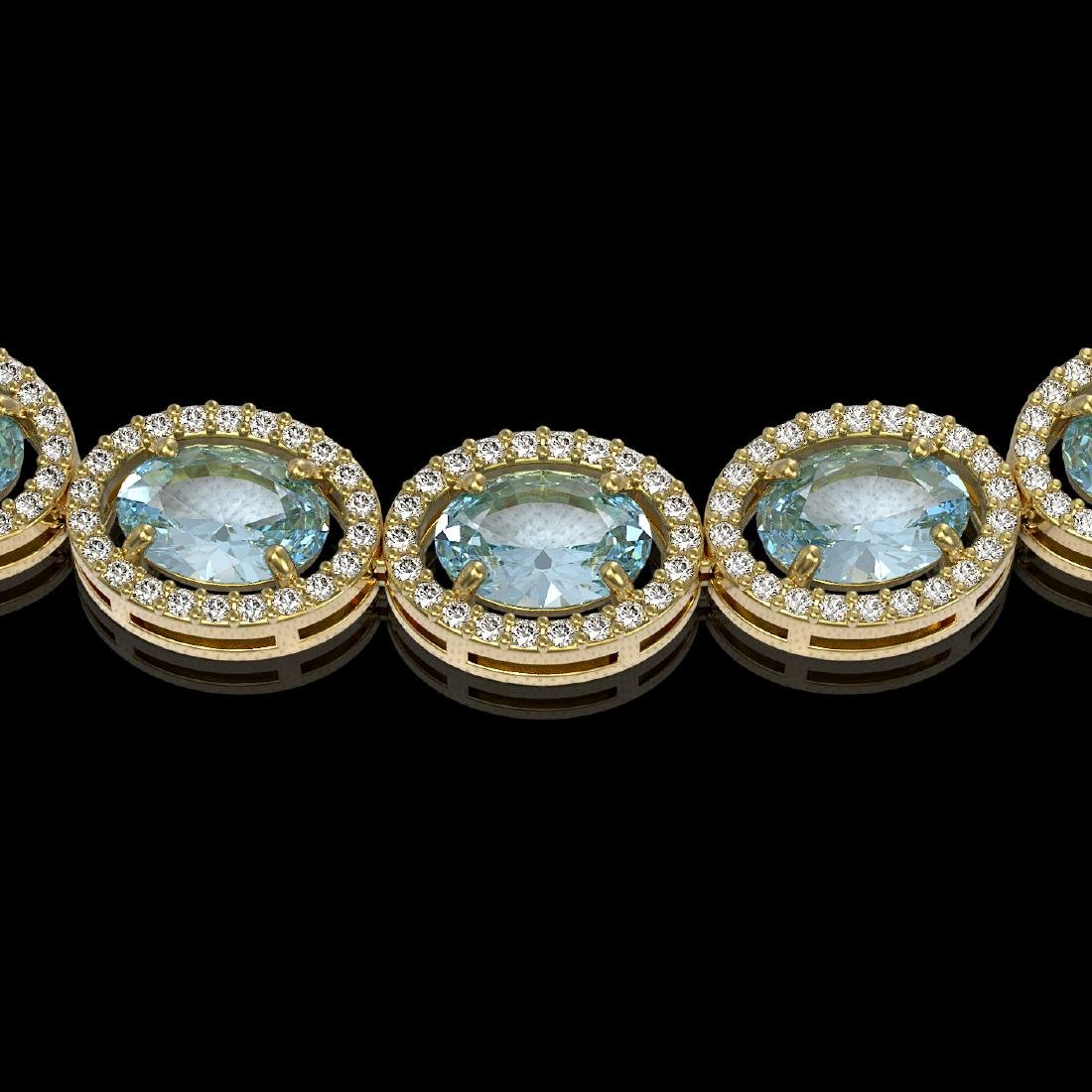 41.88 CTW Aquamarine & Diamond Halo Necklace 10K Yellow - 3
