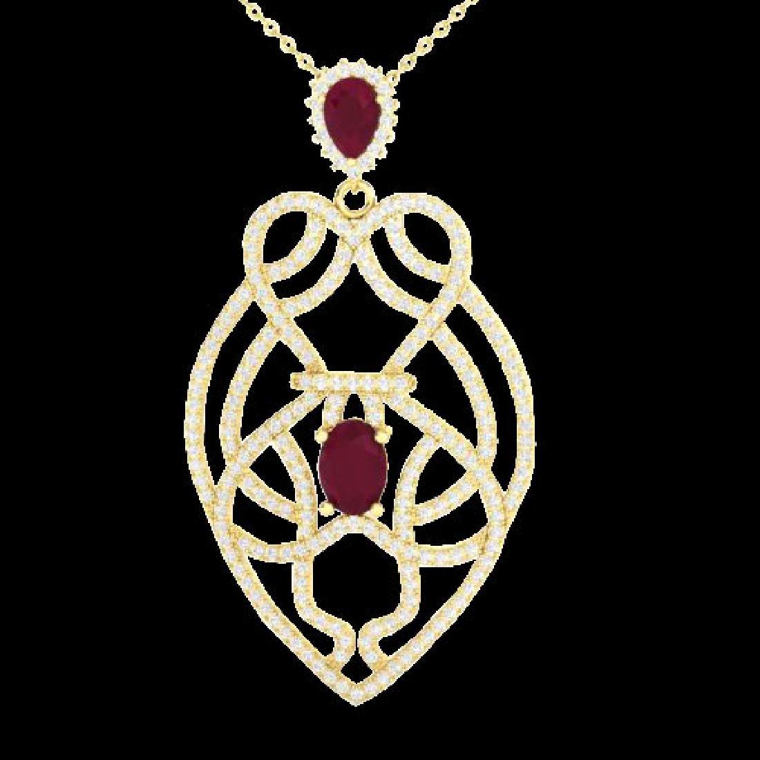 3.50 CTW Ruby & Micro VS/SI Diamond Heart Necklace