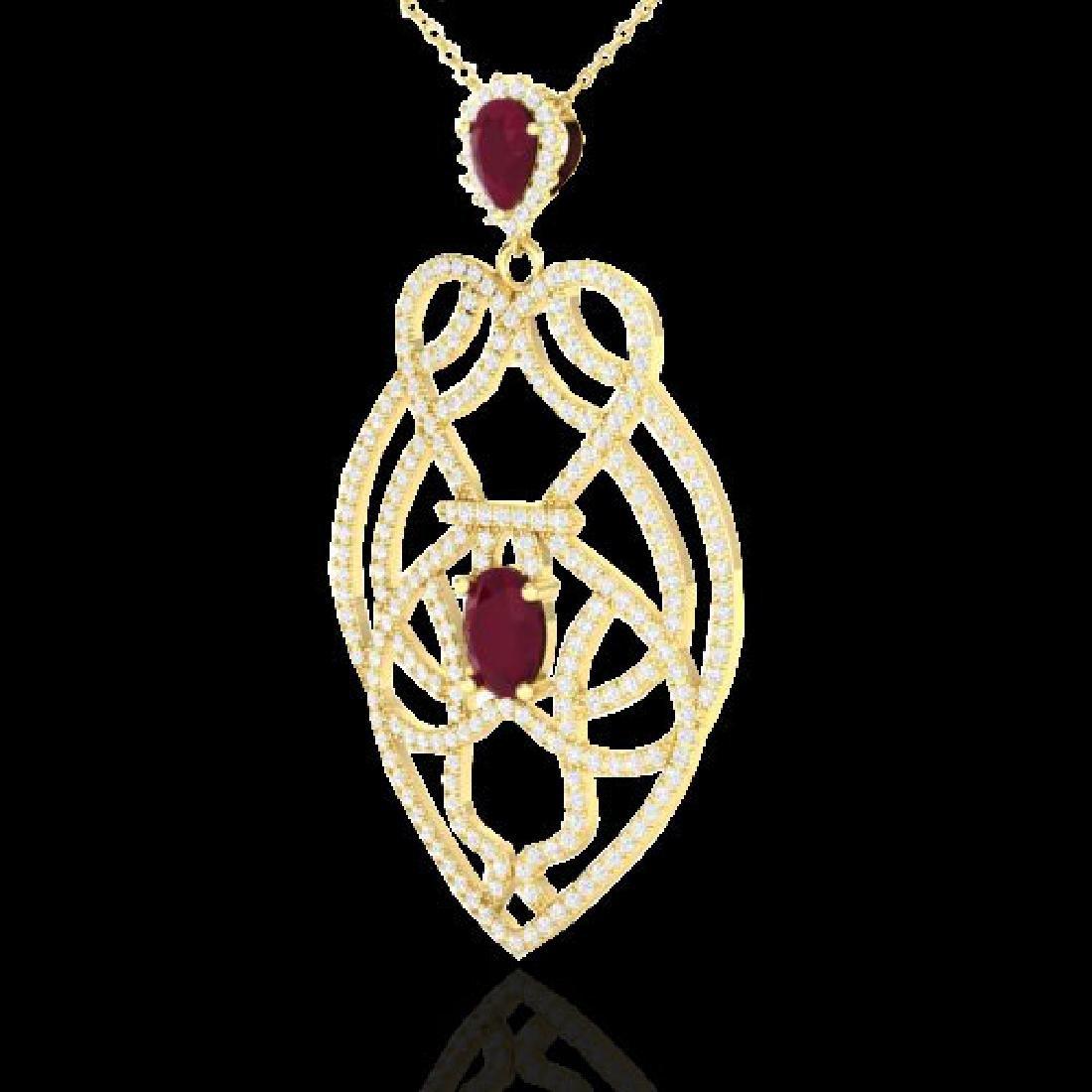 3.50 CTW Ruby & Micro VS/SI Diamond Heart Necklace - 2