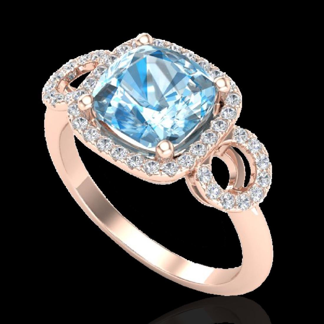 3.75 CTW Topaz & Micro VS/SI Diamond Ring 14K Rose Gold - 2