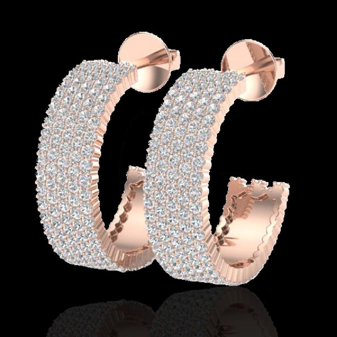 4.50 CTW Micro Pave VS/SI Diamond Earrings 14K Rose