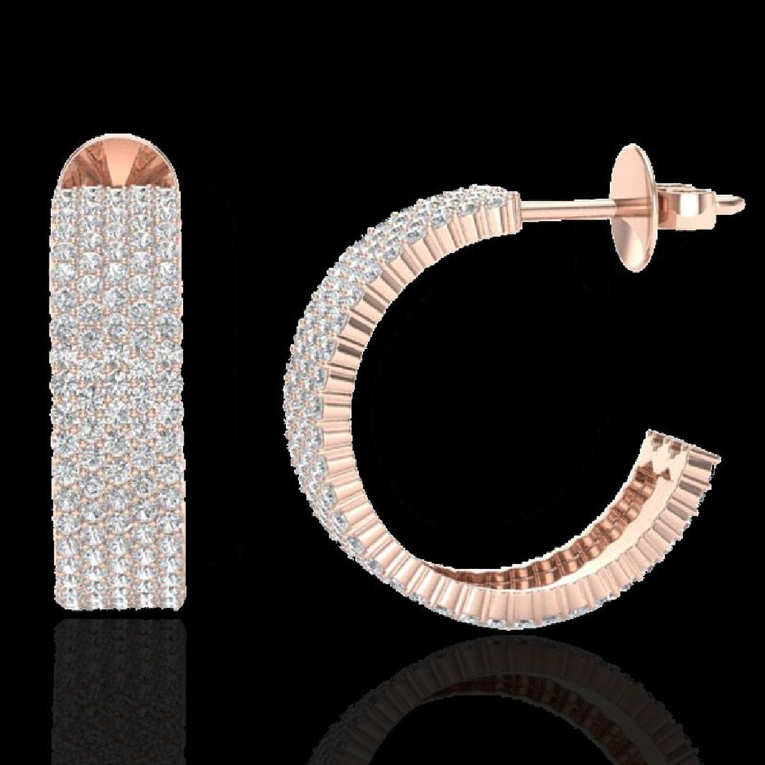 4.50 CTW Micro Pave VS/SI Diamond Earrings 14K Rose - 2