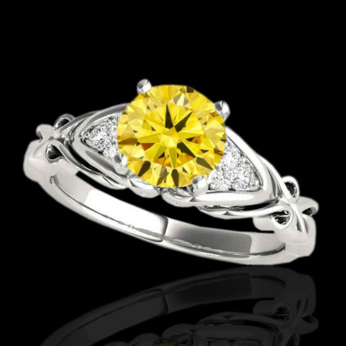 1.35 CTW Certified Si Fancy Yellow Diamond Solitaire