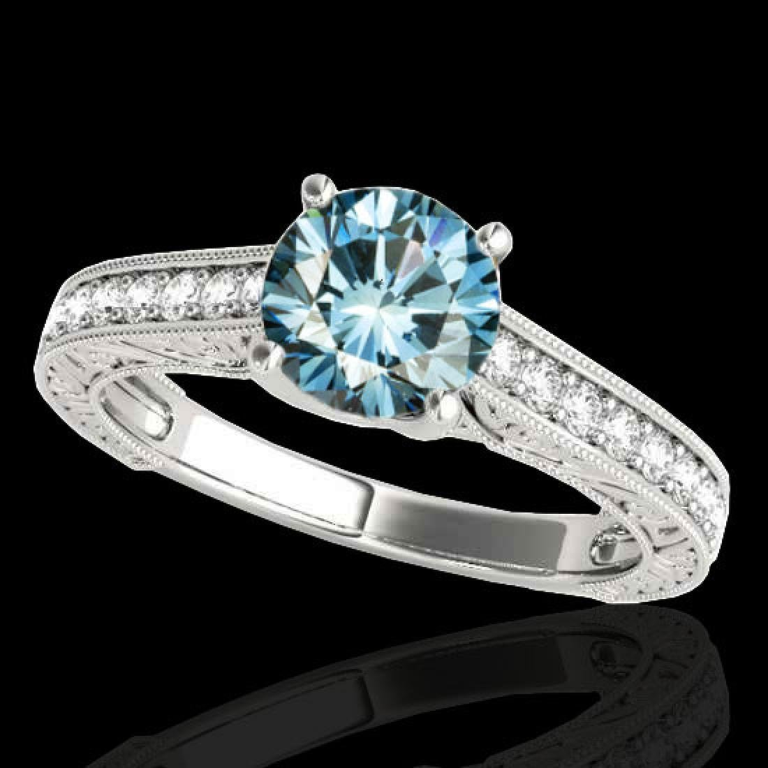 1.82 CTW SI Certified Fancy Blue Diamond Solitaire Ring