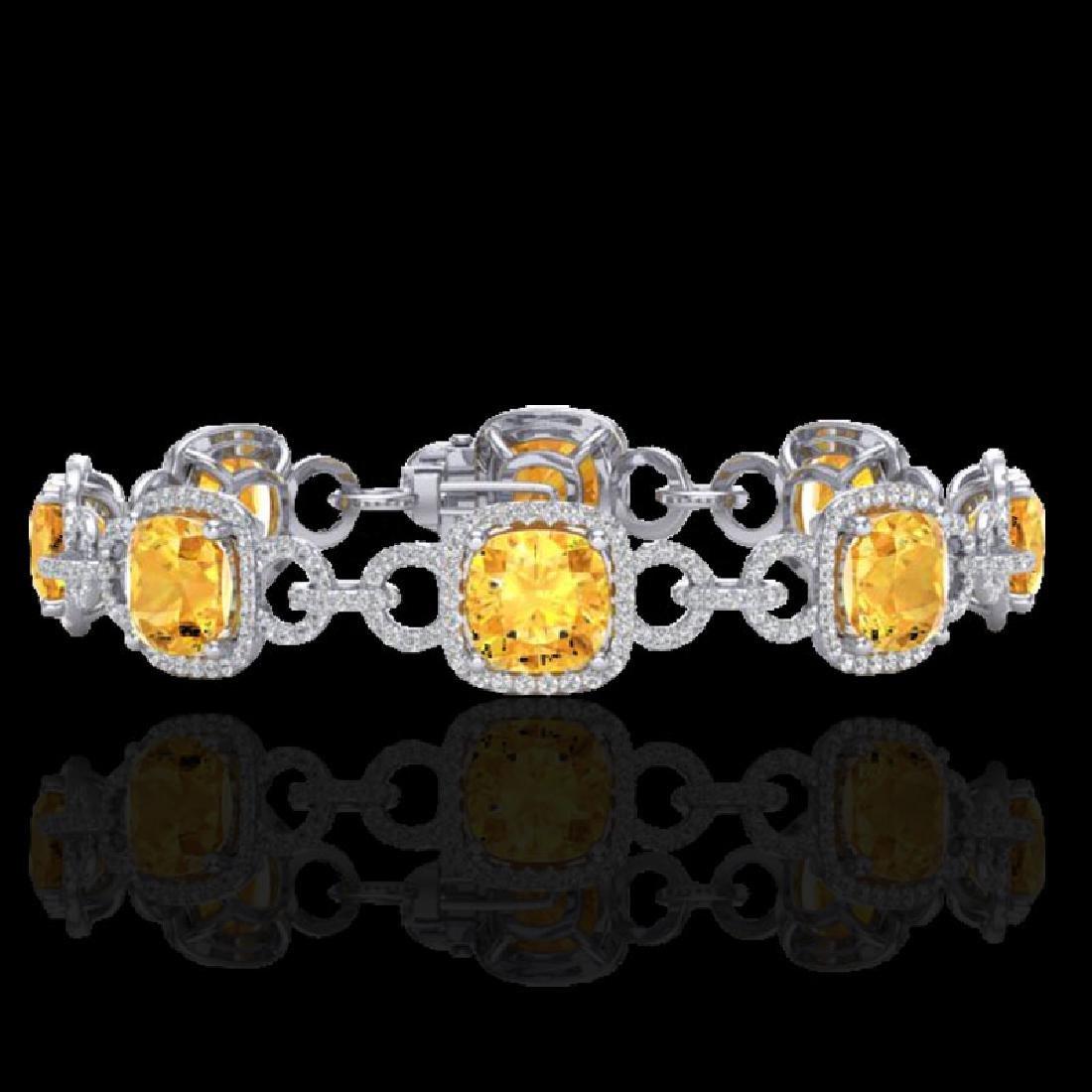 30 CTW Citrine & Micro VS/SI Diamond Bracelet 14K White
