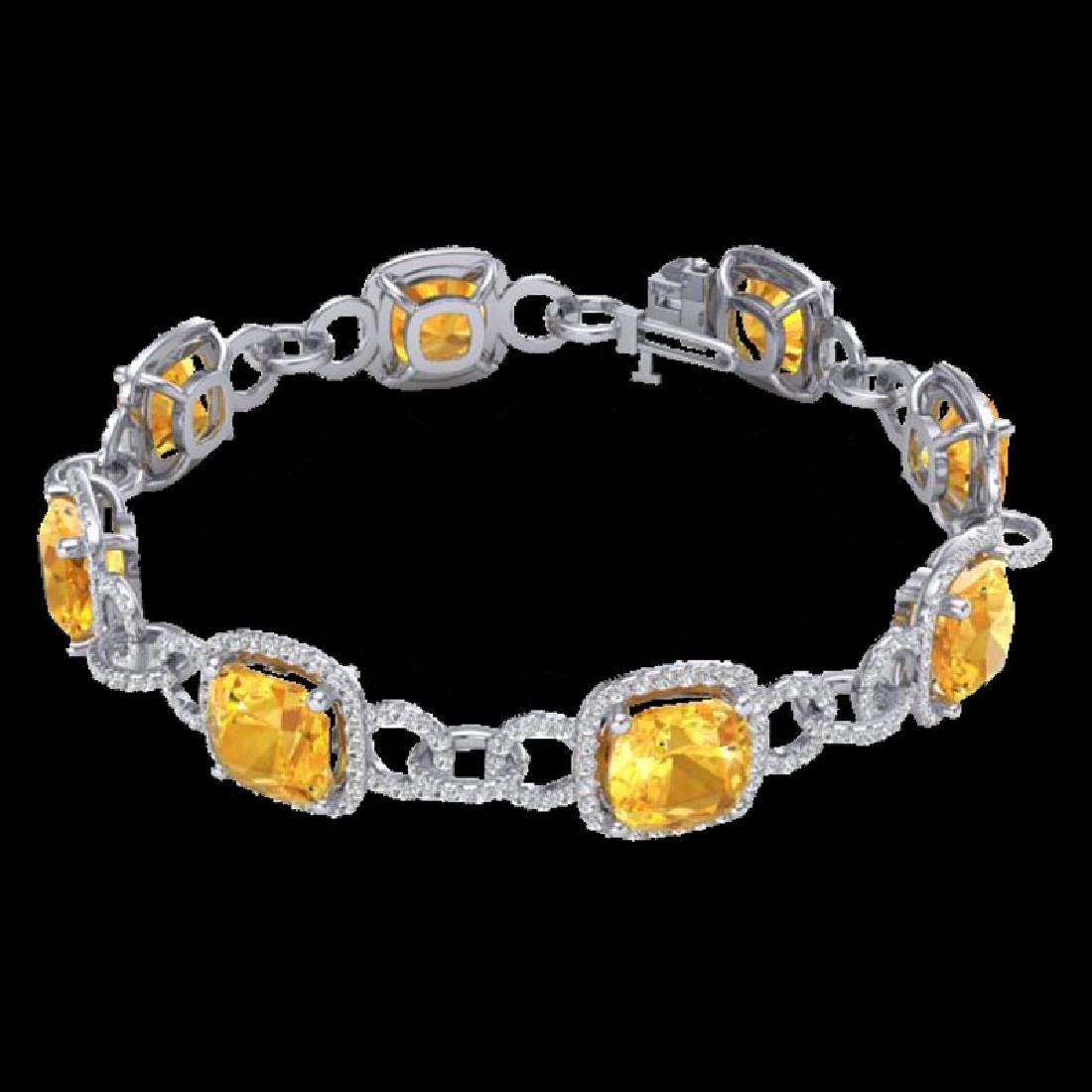 30 CTW Citrine & Micro VS/SI Diamond Bracelet 14K White - 2