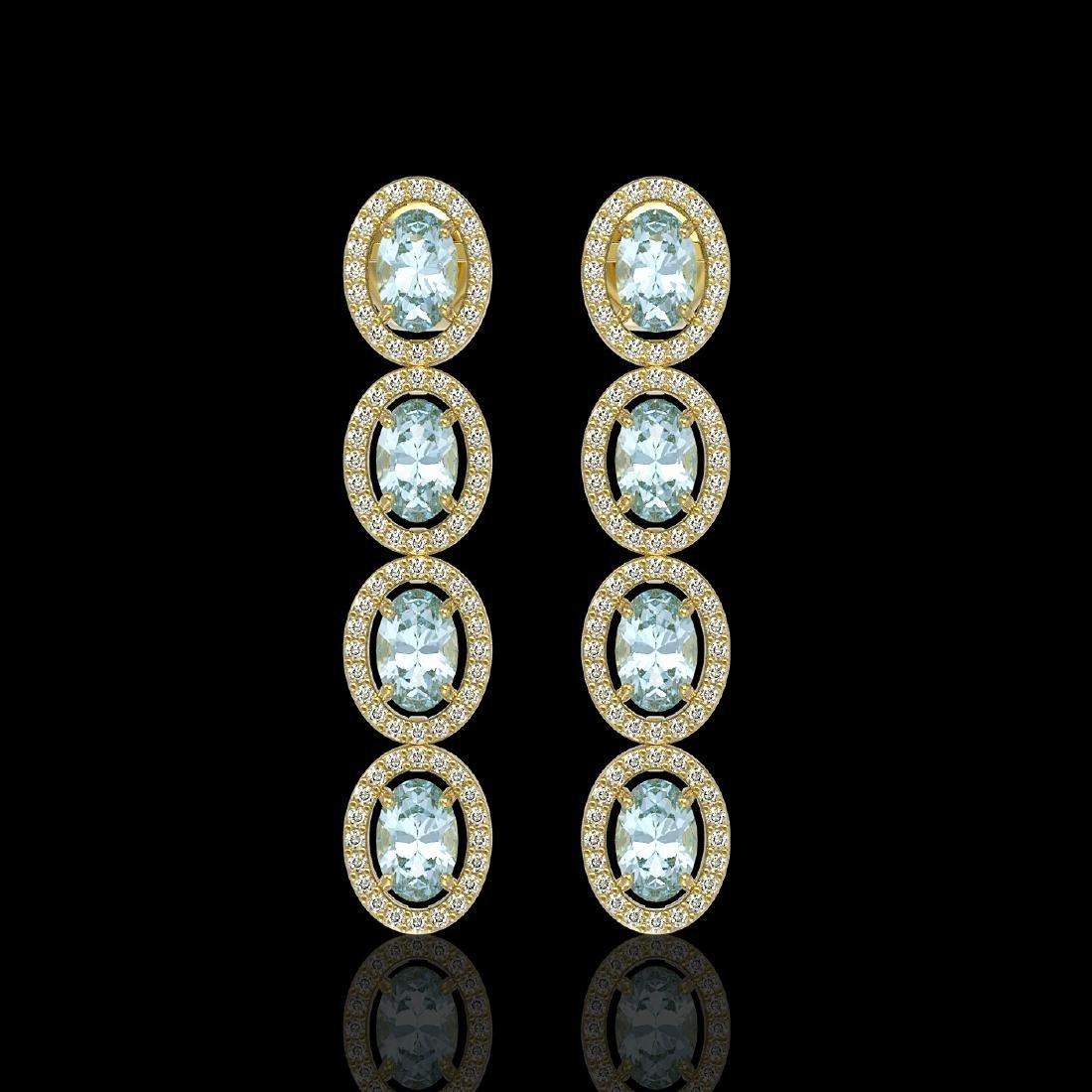 4.68 CTW Aquamarine & Diamond Halo Earrings 10K Yellow