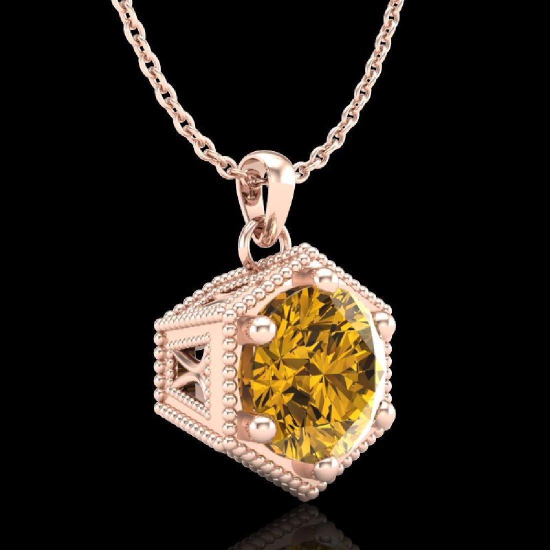 0.82 CTW Intense Fancy Yellow Diamond Art Deco Stud - 3